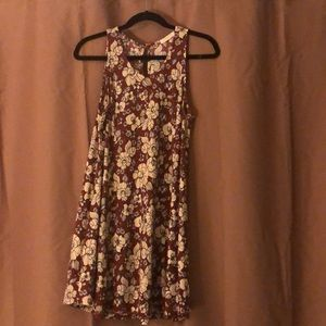 Floral mini dress.  Rust and tan